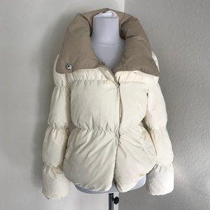 BCBG Maxazria cream puffer jacket Medium New